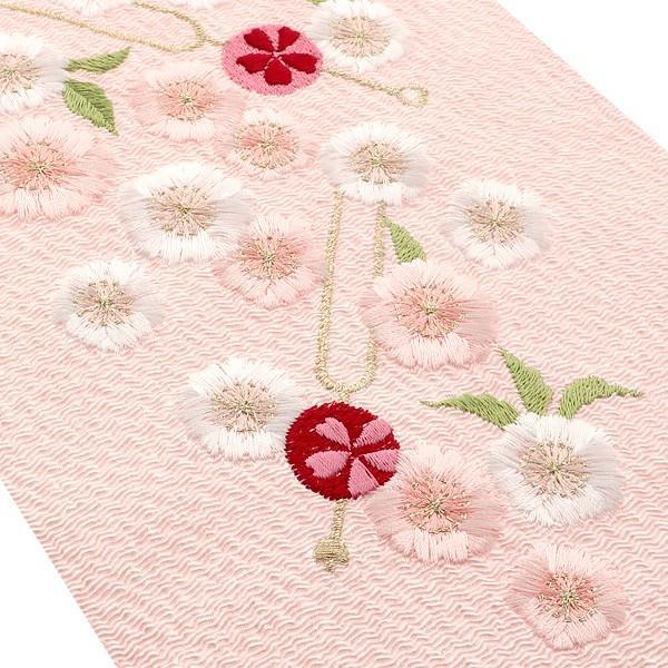 刺繍 半衿「ピンク色 かんざし、桜」IKKO 刺繍半襟 振袖衿 洒落衿|kimonomachi|03