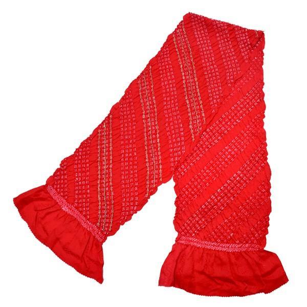 振袖 帯揚げ「赤色×ゴールド」伸金加工 絞り帯揚げ 振袖向け帯揚げ フォーマル kimonomachi 03