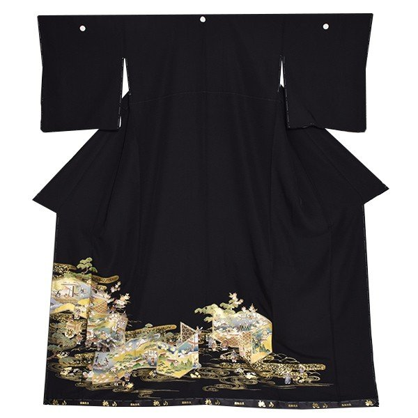 お仕立て上がり 黒留袖単品「屏風、御所解き」 紋入れ代込み 正絹着物 留袖|kimonomachi|02