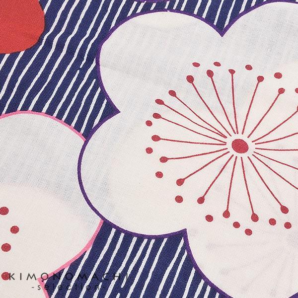 こども 浴衣単品「紺色 変わり縞に梅」レトロ 110cm、120cm、130cm、140cm、150cm キッズ 女の子浴衣 kimonomachi 04