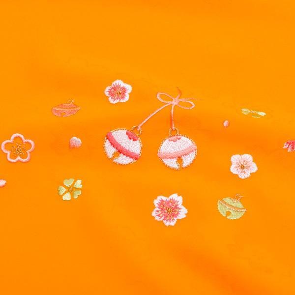七五三 帯揚げ「山吹色 鈴と梅、桜」おびあげ 式部浪漫 七歳、五歳、三歳 ポリエステル帯揚げ SR-AY|kimonomachi|03