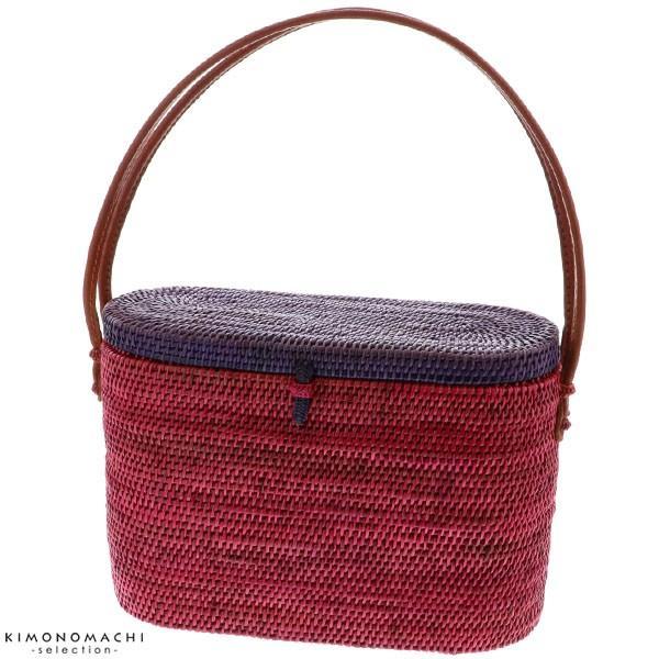 ツートン蓋付き アタバッグ「パープル×ラズベリーレッド」 アタ 夏祭り、花火大会に 夏のお出かけに