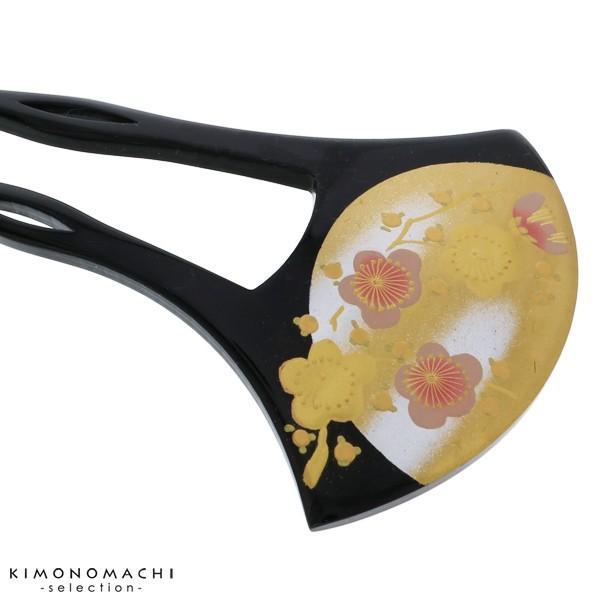 銀杏型 かんざし「黒色 梅」訪問着、留袖向け 髪飾り 蒔絵 バチ型 S18-004 B 蒔絵かんざし大|kimonomachi