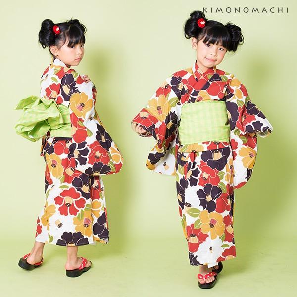 こども 浴衣2点セット「レトロカラー 椿」レトロ 110cm、120cm、130cm、140cm、150cm キッズ 女の子浴衣セット kimonomachi 02