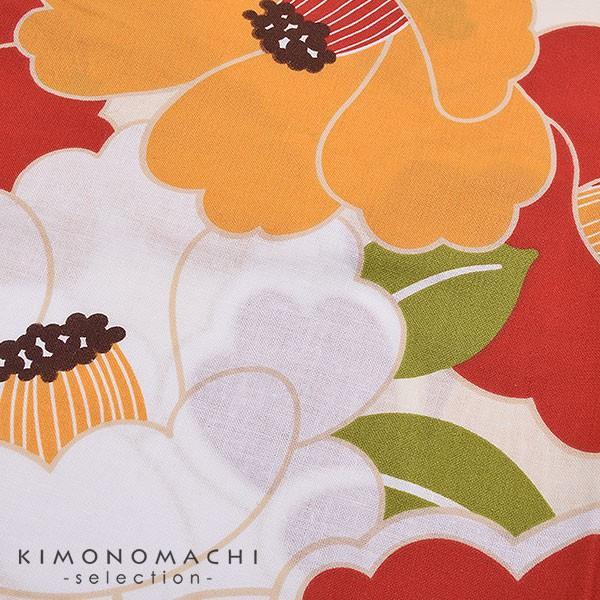 こども 浴衣2点セット「レトロカラー 椿」レトロ 110cm、120cm、130cm、140cm、150cm キッズ 女の子浴衣セット kimonomachi 04