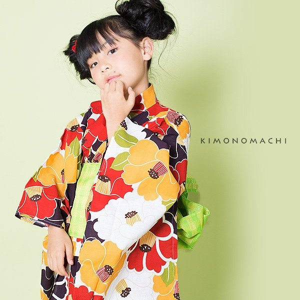 こども 浴衣2点セット「レトロカラー 椿」レトロ 110cm、120cm、130cm、140cm、150cm キッズ 女の子浴衣セット kimonomachi 06