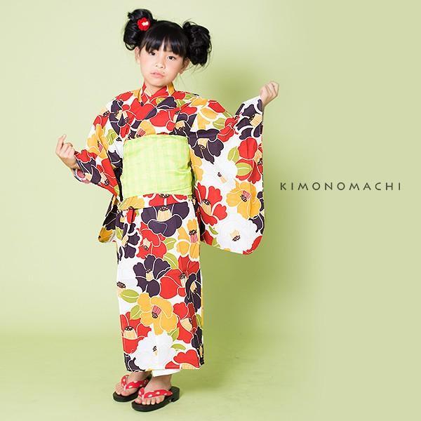 こども 浴衣2点セット「レトロカラー 椿」レトロ 110cm、120cm、130cm、140cm、150cm キッズ 女の子浴衣セット kimonomachi 07
