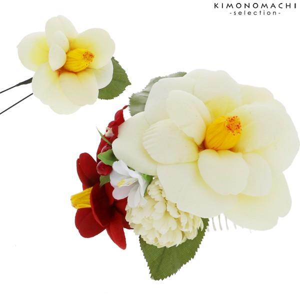 髪飾り 成人式 お花 髪飾り2点セット「白 椿」お花髪飾り 髪飾り 房飾り 成人式、結婚式 No.1251 白 kimonomachi