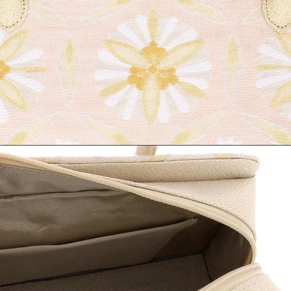礼装 和装バッグ「生成り段ぼかし 輪繋ぎ華文」 利休バッグ 帯地バッグ 西陣織バッグ
