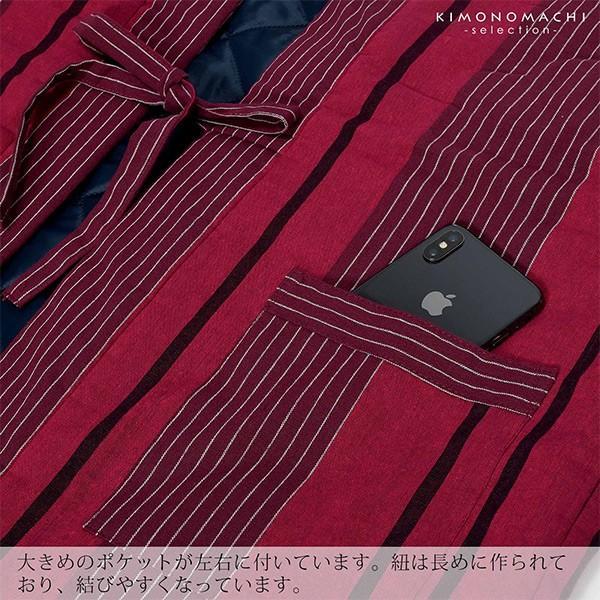 半纏 レディース はんてん 袖なし「赤紫・赤グレー・青紺・青グレー 全4色」 綿入れ ちゃんちゃんこ かわいい 綿半纏 中綿入り <H>(メール便不可)|kimonomachi|07