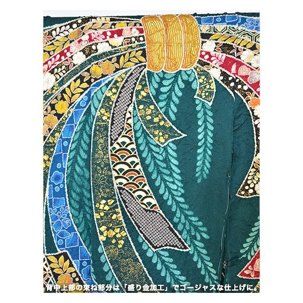 翠山工房【桐屋辻ケ花】特選しぼり逸品振袖「束ね熨斗」グリーン kimonotanaka 04