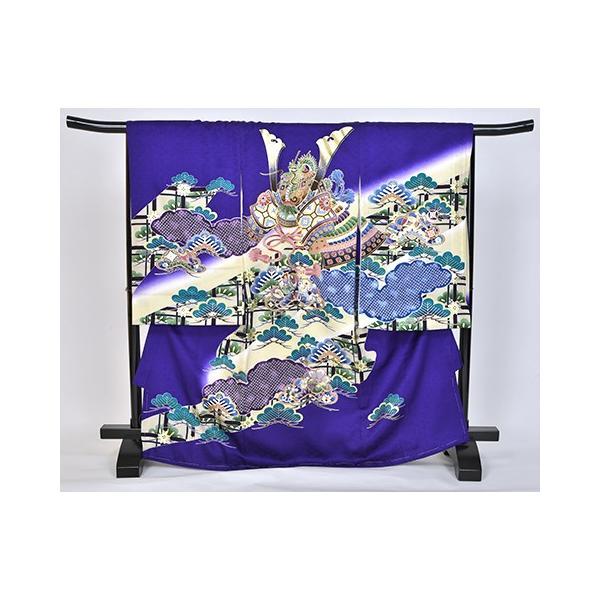 紫かぶと松 友禅絞り 桐竹鳳凰地模様|kimonotanaka
