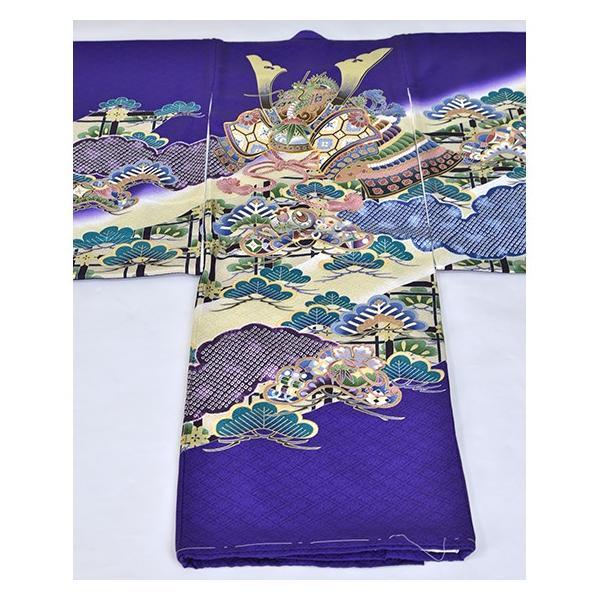 紫かぶと松 友禅絞り 桐竹鳳凰地模様|kimonotanaka|02