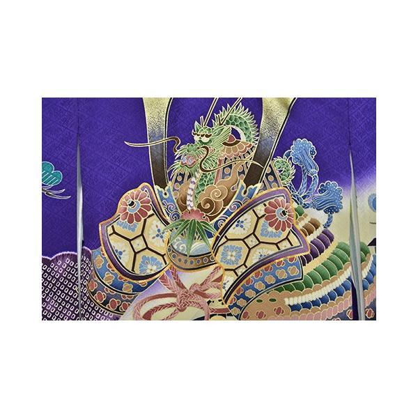 紫かぶと松 友禅絞り 桐竹鳳凰地模様|kimonotanaka|03