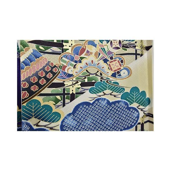 紫かぶと松 友禅絞り 桐竹鳳凰地模様|kimonotanaka|04