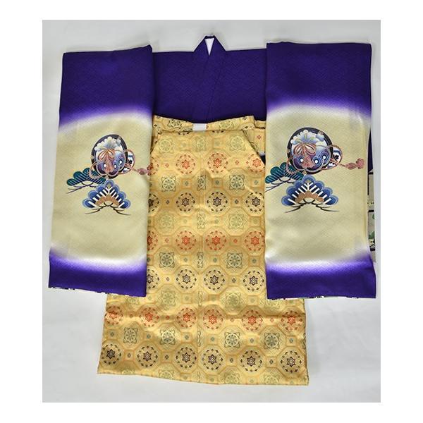 紫かぶと松 友禅絞り 桐竹鳳凰地模様|kimonotanaka|05