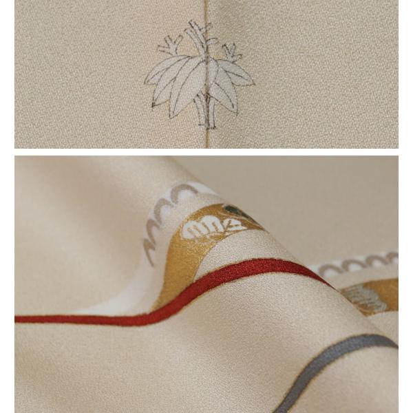 単衣 着物 訪問着 芝草に宝尽くし・春秋模様 若根笹紋 肌色 金駒刺繍 フォーマル 付下げ 6月 9月 着物 送料無料 中古 リサイクル 訪問着 着物 正絹 結婚式 kimonotenyou 04