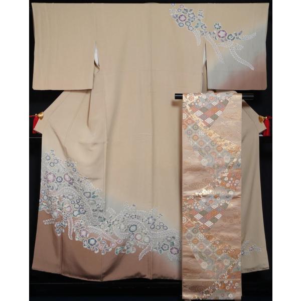 着物セット 訪問着 袋帯 2点セット 辻が花模様 亜麻色 ぼかし 絞り染め ちりめん 辻ヶ花 絞り 送料無料 中古 リサイクル 訪問着 リサイクル着物 正絹 購入 販売|kimonotenyou