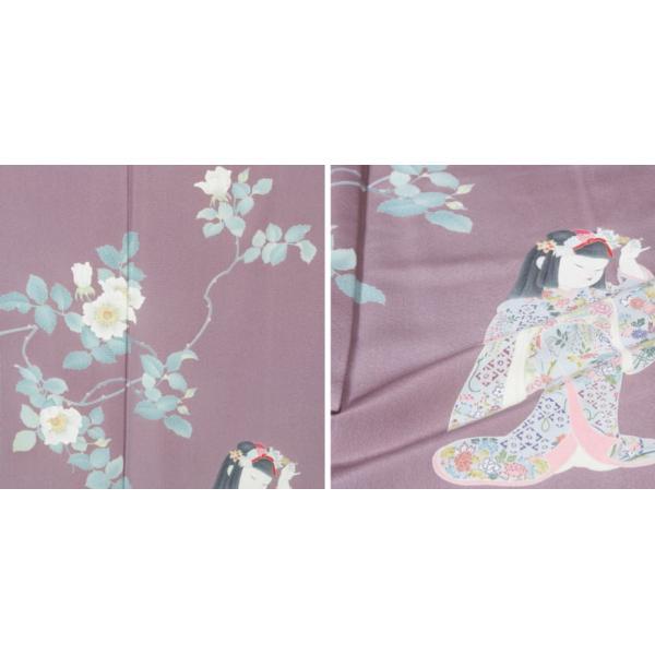 初代 由水十久 加賀友禅訪問着 未使用品 野薔薇童女 送料無料   リサイクル訪問着 リサイクル着物 アンティーク着物 きもの天陽 kimonotenyou 04