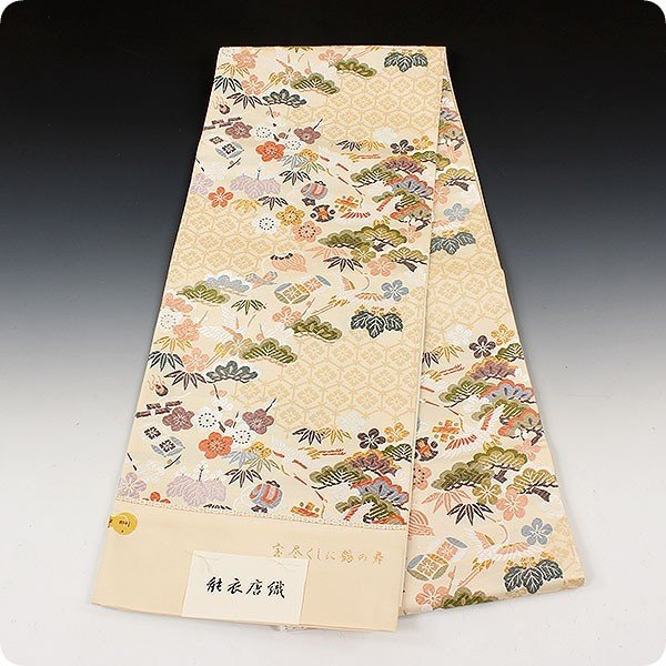 西陣老舗 織匠小平 能衣唐織 宝尽くしに鶴の舞|kimonowashou|04