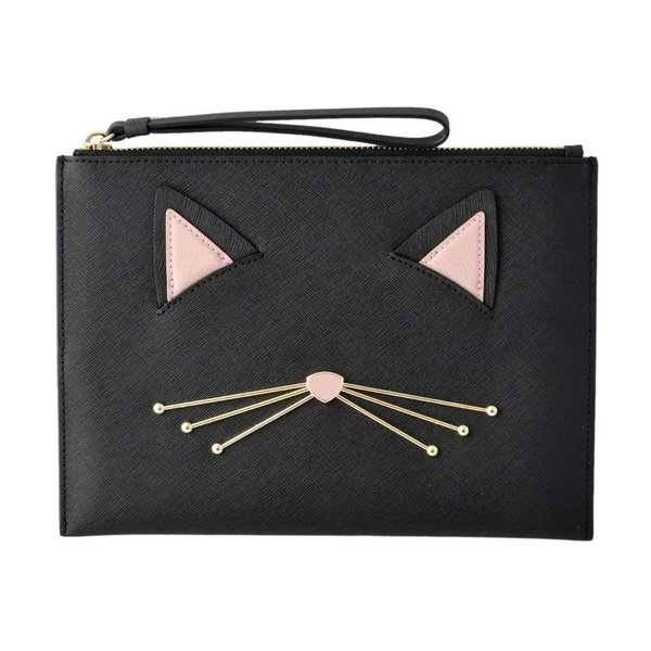 ケイトスペード ハンドポーチ クラッチバッグ PWRU6627 098 猫モチーフ CAT'S MEOW cat medium bella pouch