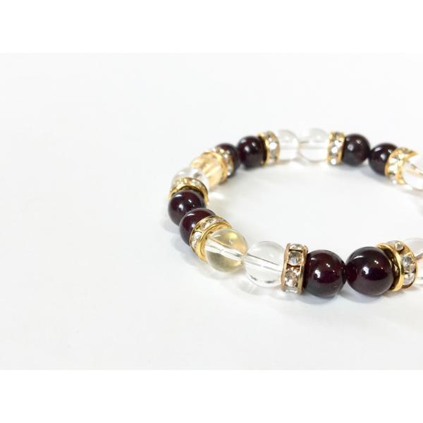 ガーネット&水晶 パワーストーン ブレスレット 天然石ブレス (ロンデル:ゴールド) 8mm メンズ・レディース