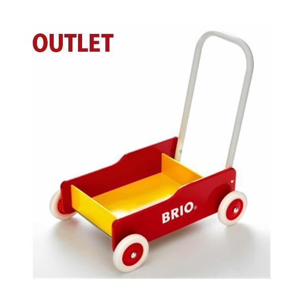 25%OFF アウトレット品 ブリオ BRIO 歩行器 手押し車/赤  木のおもちゃ 1歳 おもちゃ 知育玩具