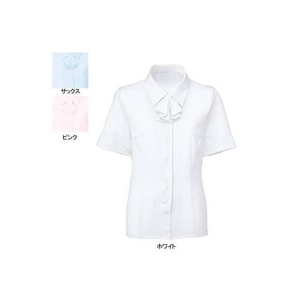 事務服 制服 ヌーヴォ FB7086 ブラウス/リボン付(半袖) 11号・ホワイト1|kinsyou-webshop