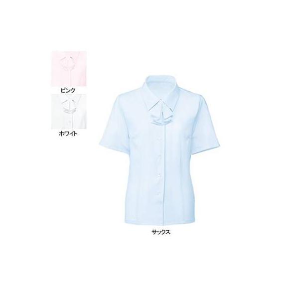 事務服 制服 ヌーヴォ FB7086 ブラウス/リボン付(半袖) 11号・サックス2|kinsyou-webshop