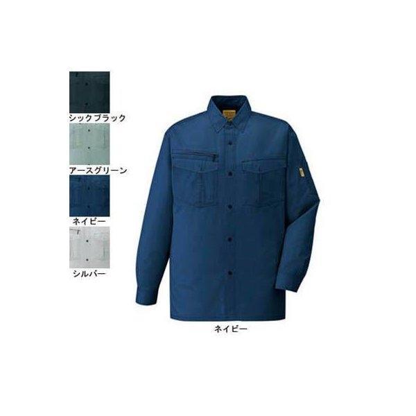 自重堂 Jawin 55204 長袖シャツ シャドーストライプサマーツイル(ポリエステル65%・綿35%) 帯電防止素材使用