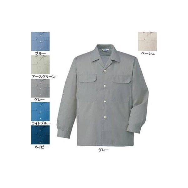 自重堂 6055 エコ製品制電長袖オープンシャツ リサイクルサマーツイル(ポリエステル65%・綿35%) 帯電防止JIS T8118適合商品