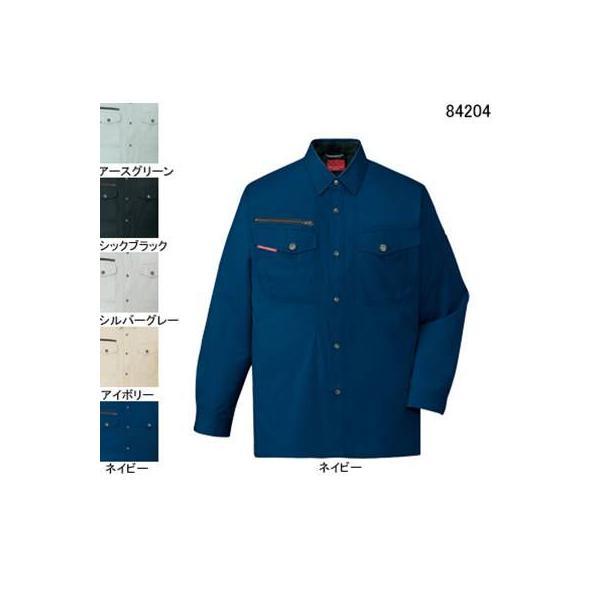 自重堂 84204 ストレッチ長袖シャツ サマーツイル(綿100%) ストレッチ