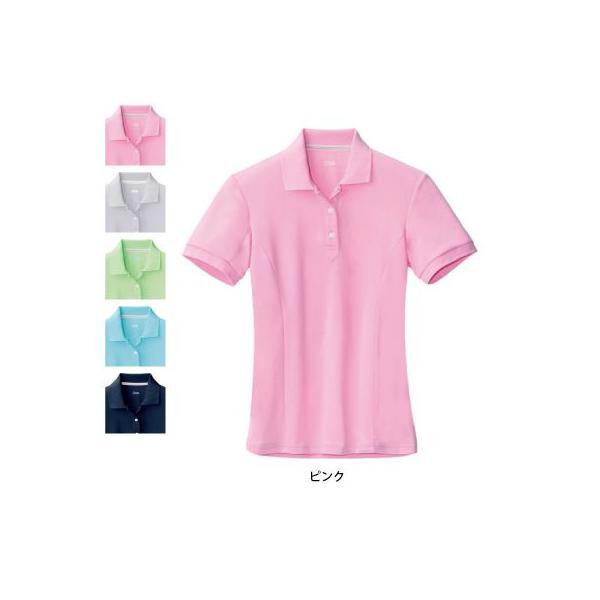 ジーベック 6000 レディス半袖ポロシャツ ディンプルニット ポリエステル100% 伸縮素材