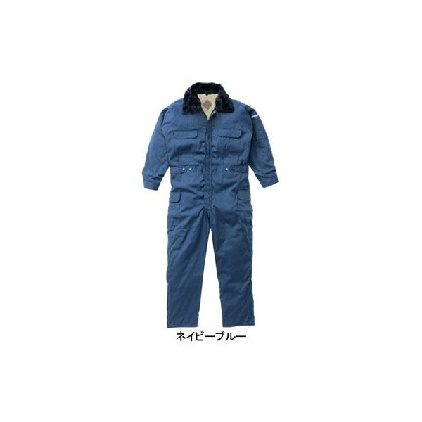 山田辰 6-A-300(300) 防寒つなぎ服(フードイン仕様) 表地:ポリエステル65%・綿35% 裏地:ボア(アクリル100%)、キルト(ポリエステル100%) フード付 撥水加工