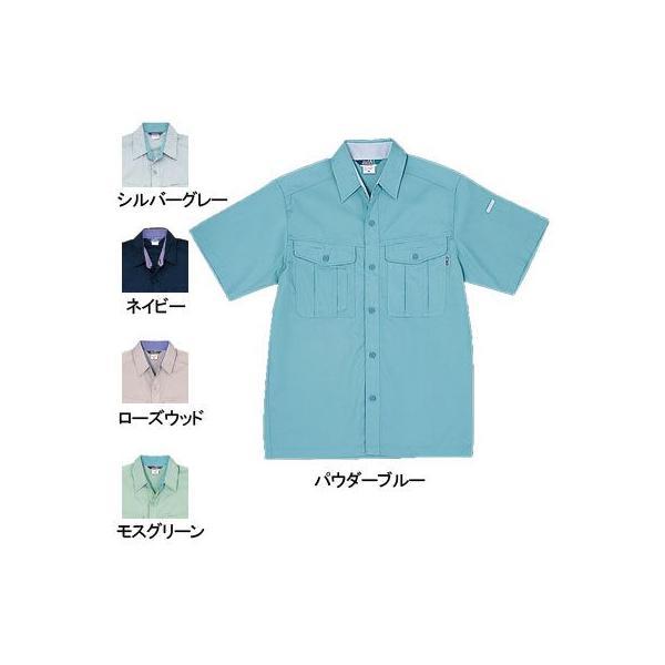 桑和 417 半袖シャツ 制電性素材 ポリエステル65%・綿35%(エコ素材・T/Cソフトライトツイル)