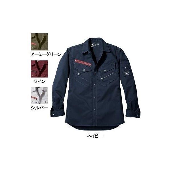 自重堂 Jawin 52104 長袖シャツ ダイヤドビー(ポリエステル60%・綿40%) 帯電防止素材使用