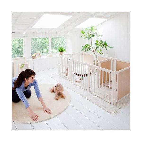 ペットサークル [ サークル プラス F60 Lp] 木製 小型犬 サークル 多頭飼い 室内用 日本製|kintaro-w