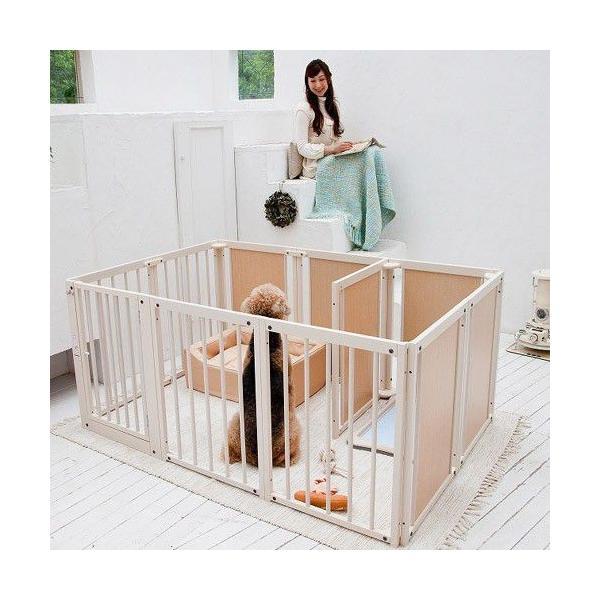 ペットサークル [ サークル プラス F80XLp ] 木製 多頭飼い サークル ケージ 中型犬 大型犬 高さ80cm 室内用 扉付き 仕切り付き 日本製