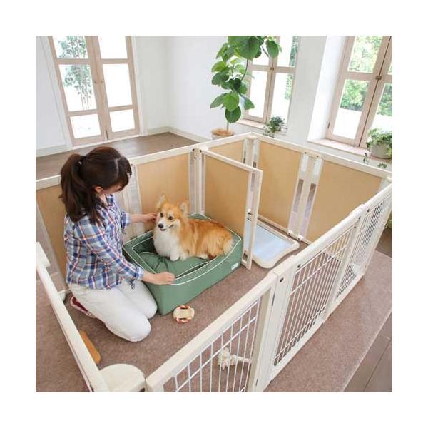木製 サークル 多頭飼い ペットサークル 大型犬 サークル「サークル プラス F80XLp メッシュ」|kintaro-w|04