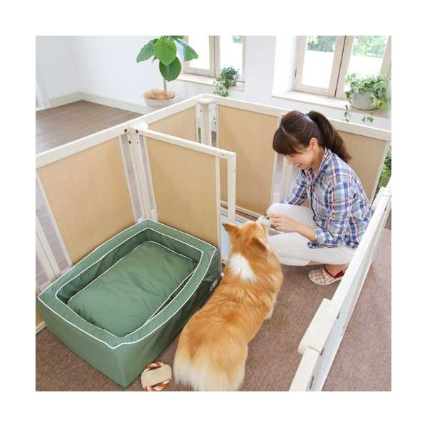 木製 サークル 多頭飼い ペットサークル 大型犬 サークル「サークル プラス F80XLp メッシュ」|kintaro-w|05