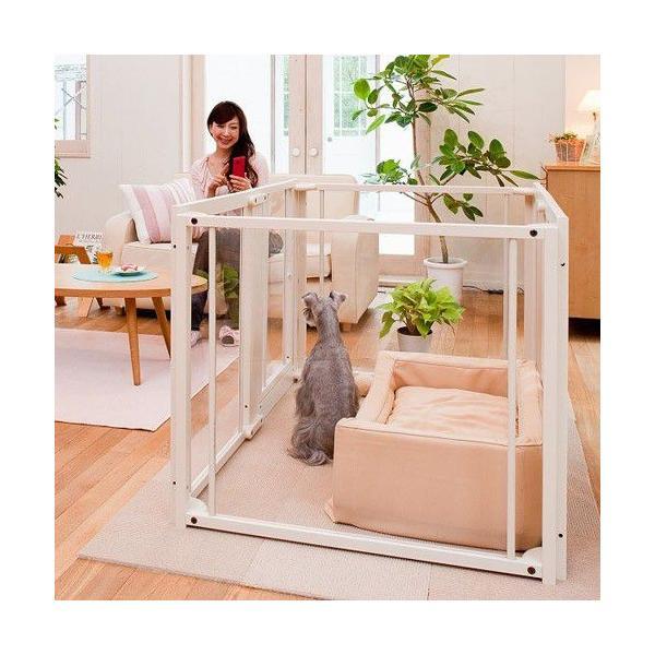 ペットサークル 犬用 [ ペット サークル F80L アクリル ] サークル ケージ おしゃれ 多頭飼い 中型犬 大型犬 木製 室内用 ドア付き 日本製