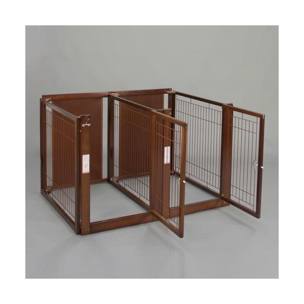ペットサークル [多頭飼い サークル F 80-69 メッシュ] 木製 多頭飼い サークル ケージ 中型犬 大型犬 高さ80cm 室内用 扉付き 仕切り付き 日本製