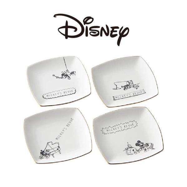 ディズニー 食器セット ミッキー ハンドドローイング プレート 4枚セット レンジOK 日本製 食器 プレゼント ギフト ラッピング対応 kintouen
