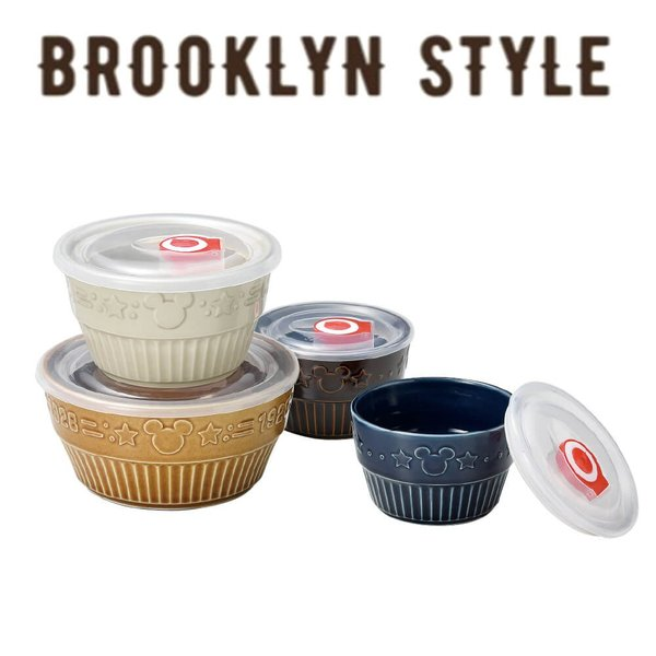 SALE ディズニー 食器セット ミッキー ブルックリンスタイル レンジパック 4点セット レンジOK 保存容器 日本製 食器 プレゼント ラッピング対応|kintouen