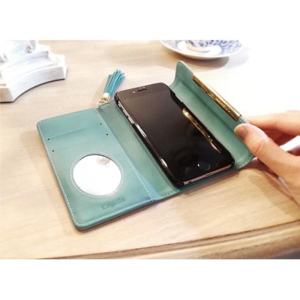 スマホケース 手帳型 iphone8 iPhoneXR Xperia 1 XZ3 XZ2 携帯ケース AQUOS R3 R2 Zero android ONE S5 Softbank オシャレ タッセル 鏡 kintsu 12