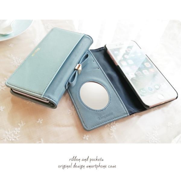 スマホケース 手帳型 iphone8 iPhoneXR Xperia 1 XZ3 XZ2 携帯ケース AQUOS R3 R2 Zero android ONE S5 Softbank オシャレ リボン 鏡|kintsu|04