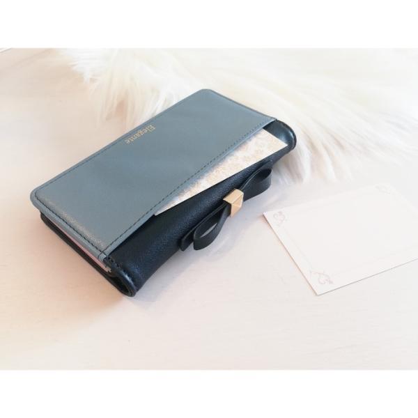 スマホケース 手帳型 iphone8 iPhoneXR Xperia 1 XZ3 XZ2 携帯ケース AQUOS R3 R2 Zero android ONE S5 Softbank オシャレ リボン 鏡|kintsu|08