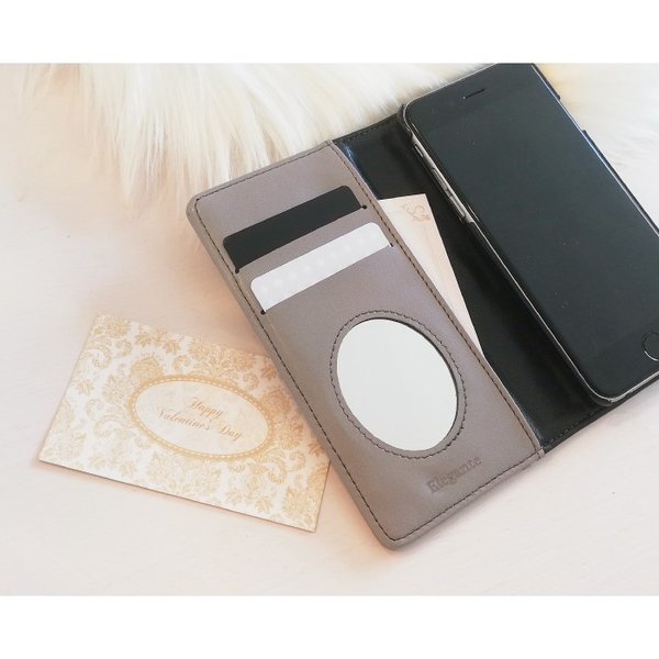 スマホケース 手帳型 iphone8 iPhoneXR Xperia 1 XZ3 XZ2 携帯ケース AQUOS R3 R2 Zero android ONE S5 Softbank オシャレ リボン 鏡|kintsu|09