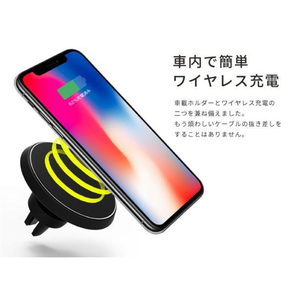 ワイヤレス充電器 qiワイヤレス充電 iphone8 iphonex 急速充電 アイフォン8 車載ホルダー galaxy 置くだけ kintsu 02