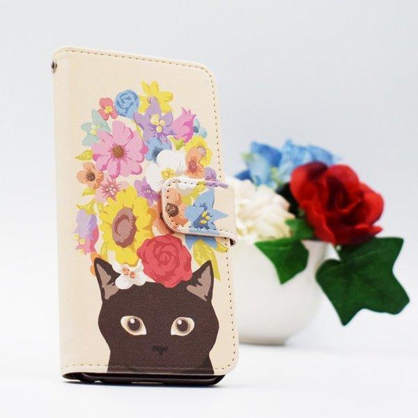 猫 スマホケース 手帳型 iphonexs ケース 携帯ケース アイフォンxs スマホカバー 手帳 アイホン おしゃれ 動物 花柄|kintsu|05